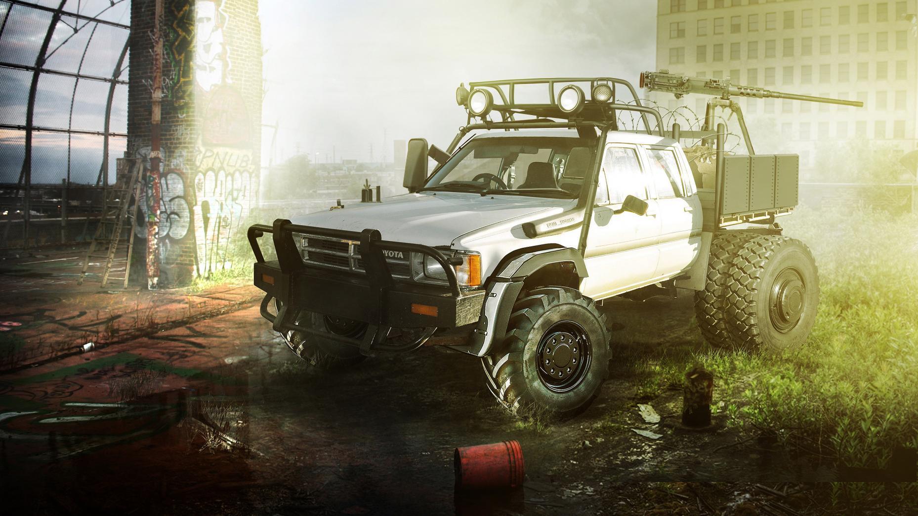 auto's voor de post-apocalyptische woestenij