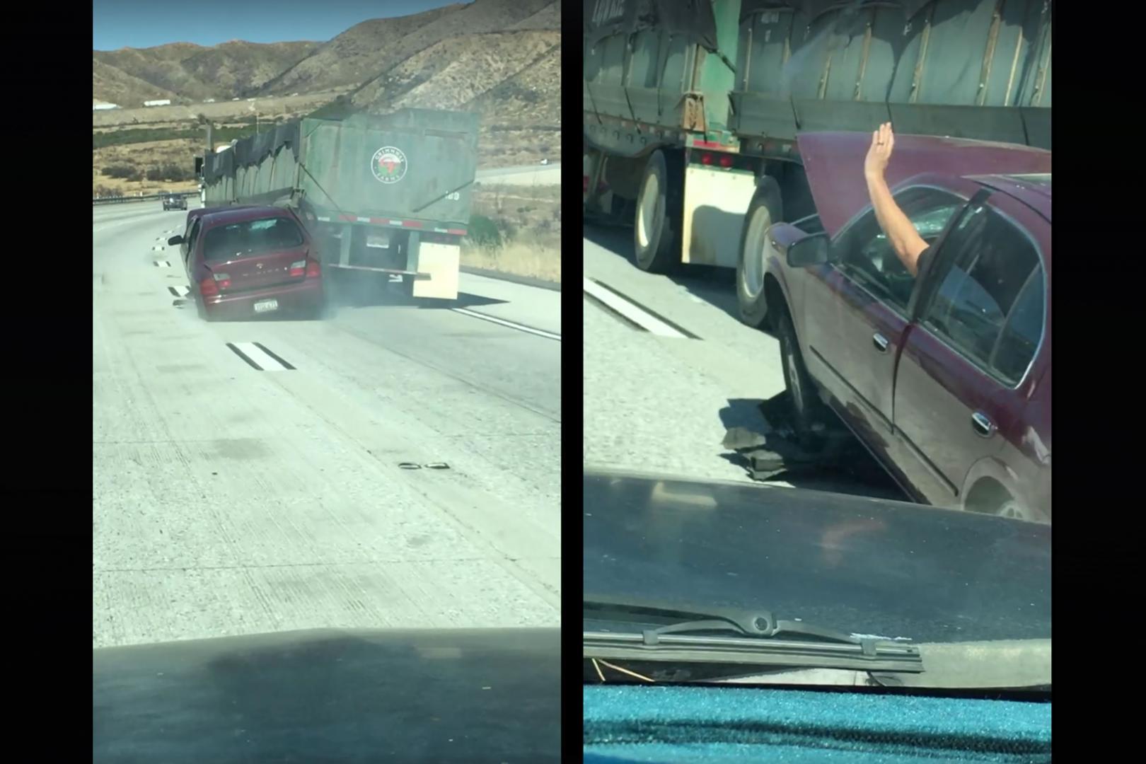 Truck sleept Nissan 6,5 kilometer over snelweg