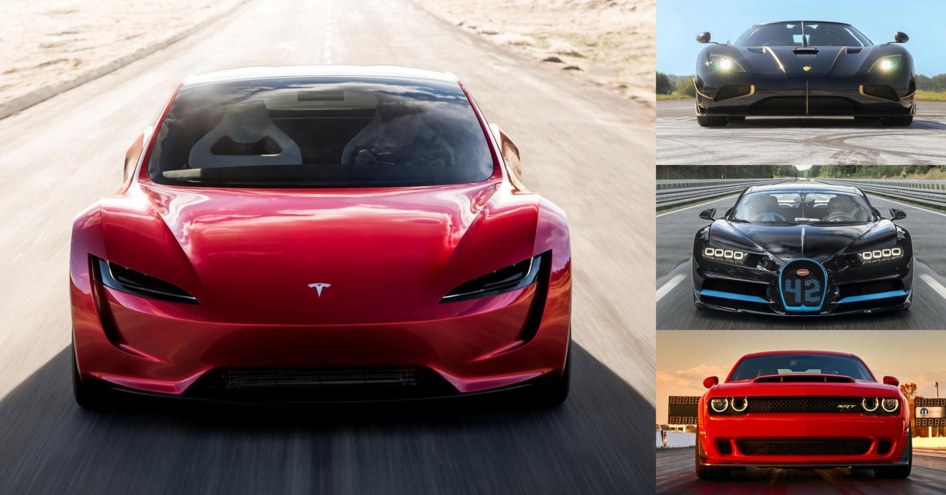 Tesla Roadster vs Bugatti Chiron en de rest