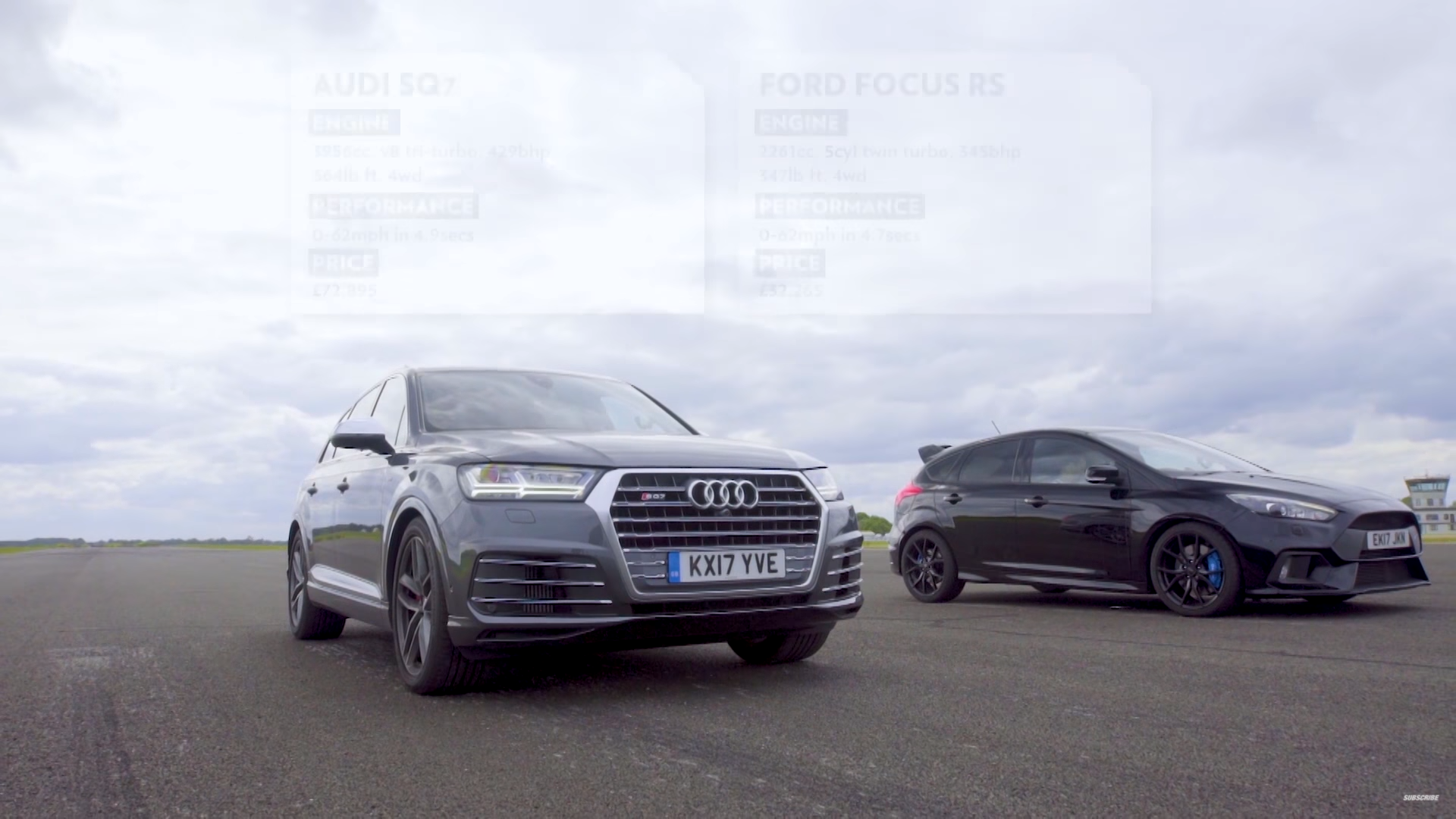 Audi SQ7 vs Ford Focus RS in een dragrace