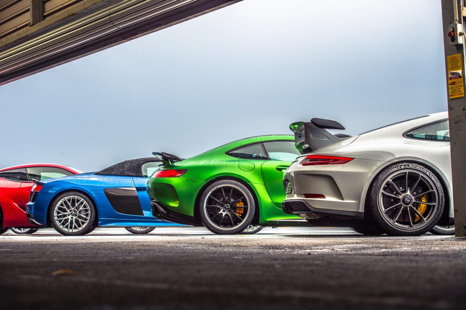 Lexus LC500 vs Audi R8 V10 Spyder vs Mercedes-AMG GT R vs Porsche 911 991 GT3