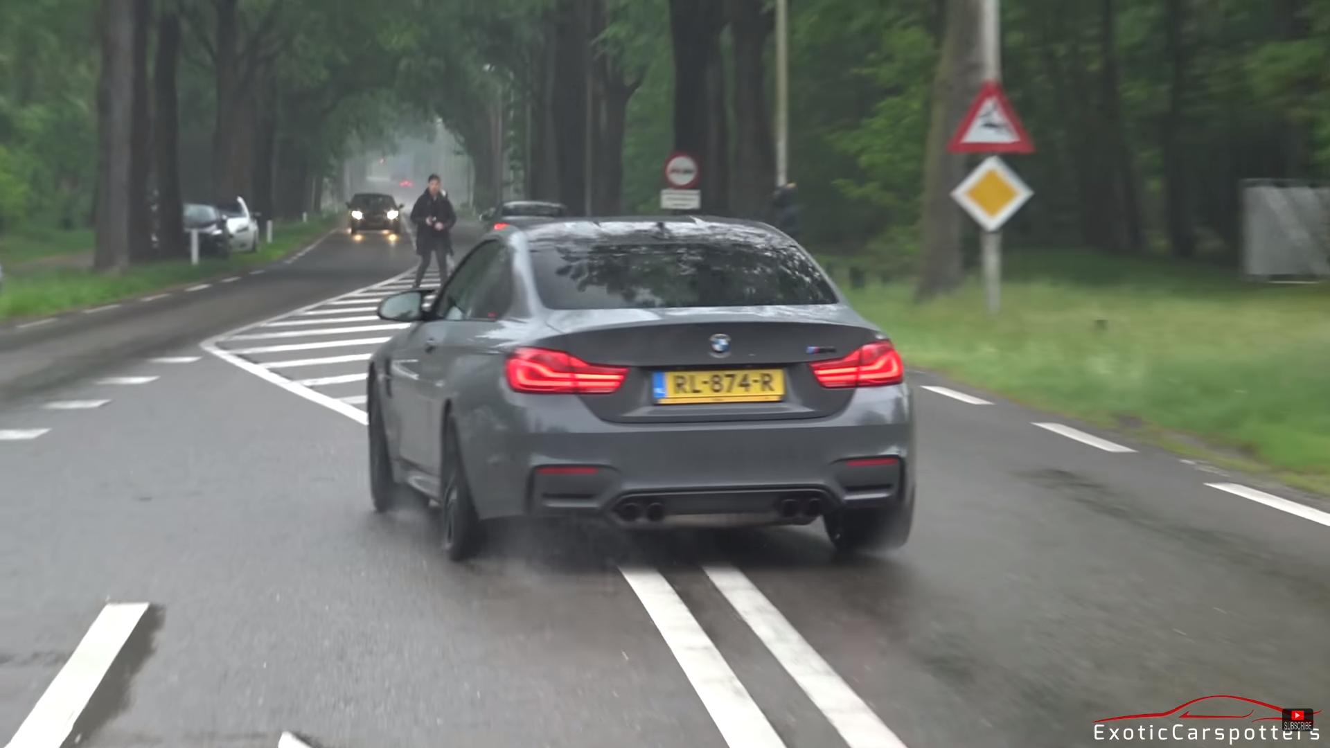 BMW M4 tikt bijna autospotter omver