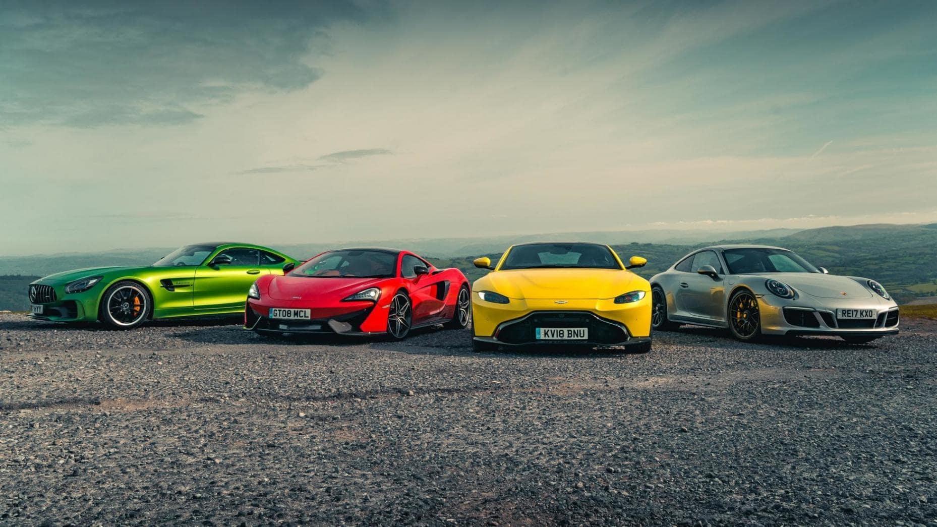 Mercedes-AMG GT R, McLaren 570GT, Aston Martin Vantage, Porsche 911 GTS (2018)