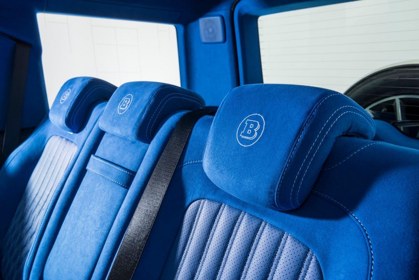 blauw interieur brabus mercedes-amg g 63 achterbank