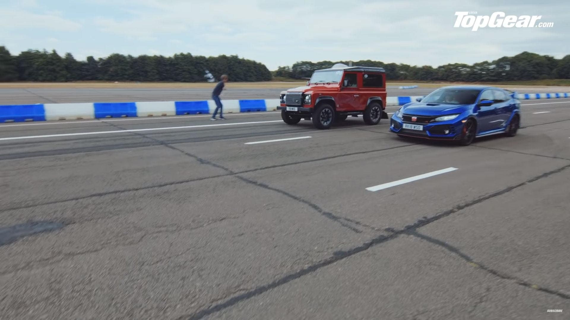 Honda Civic Type R vs Land Rover Defender Works V8