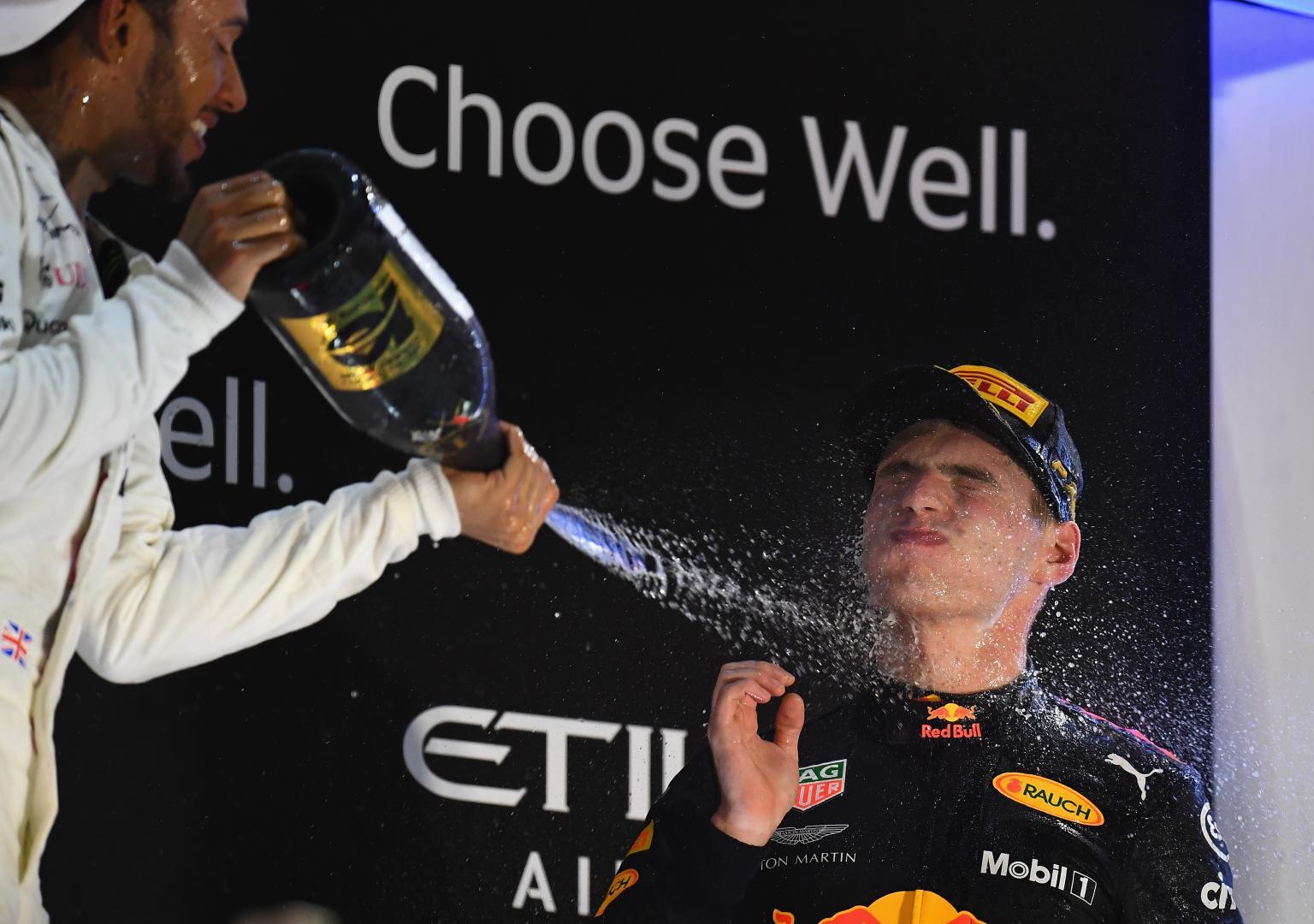 Max Verstappen Lewis Hamilton Champagne