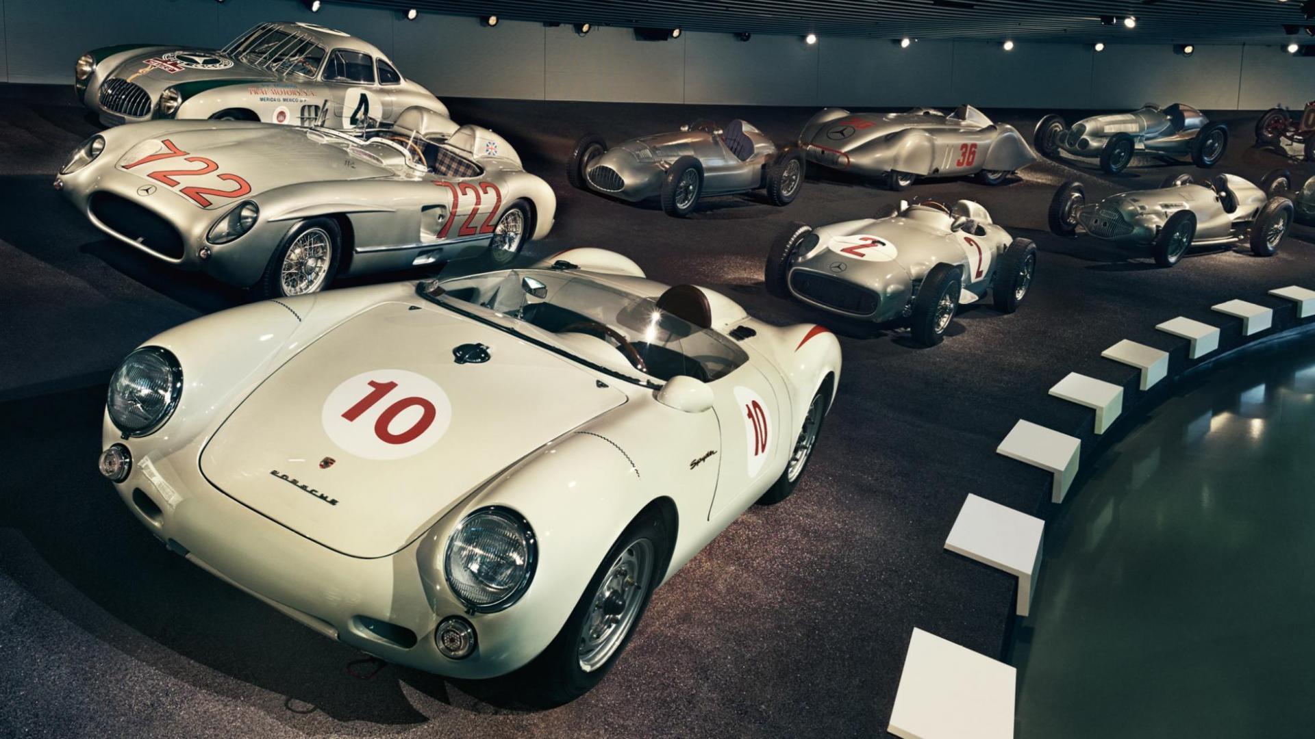 Porsche 550 Spyder in het Mercedes-museum
