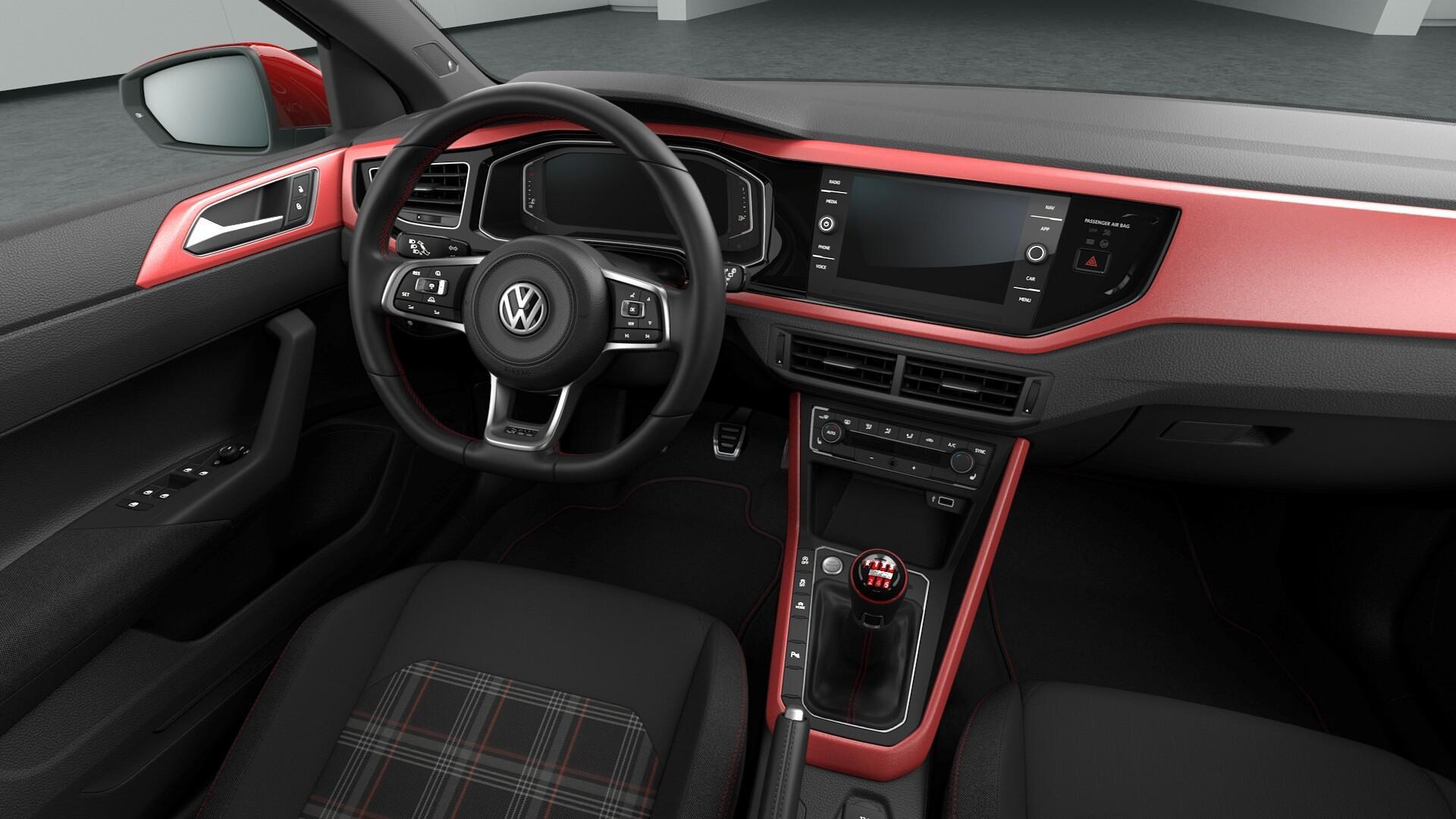 Dashboard van de Volkswagen Polo GTI met Handbak