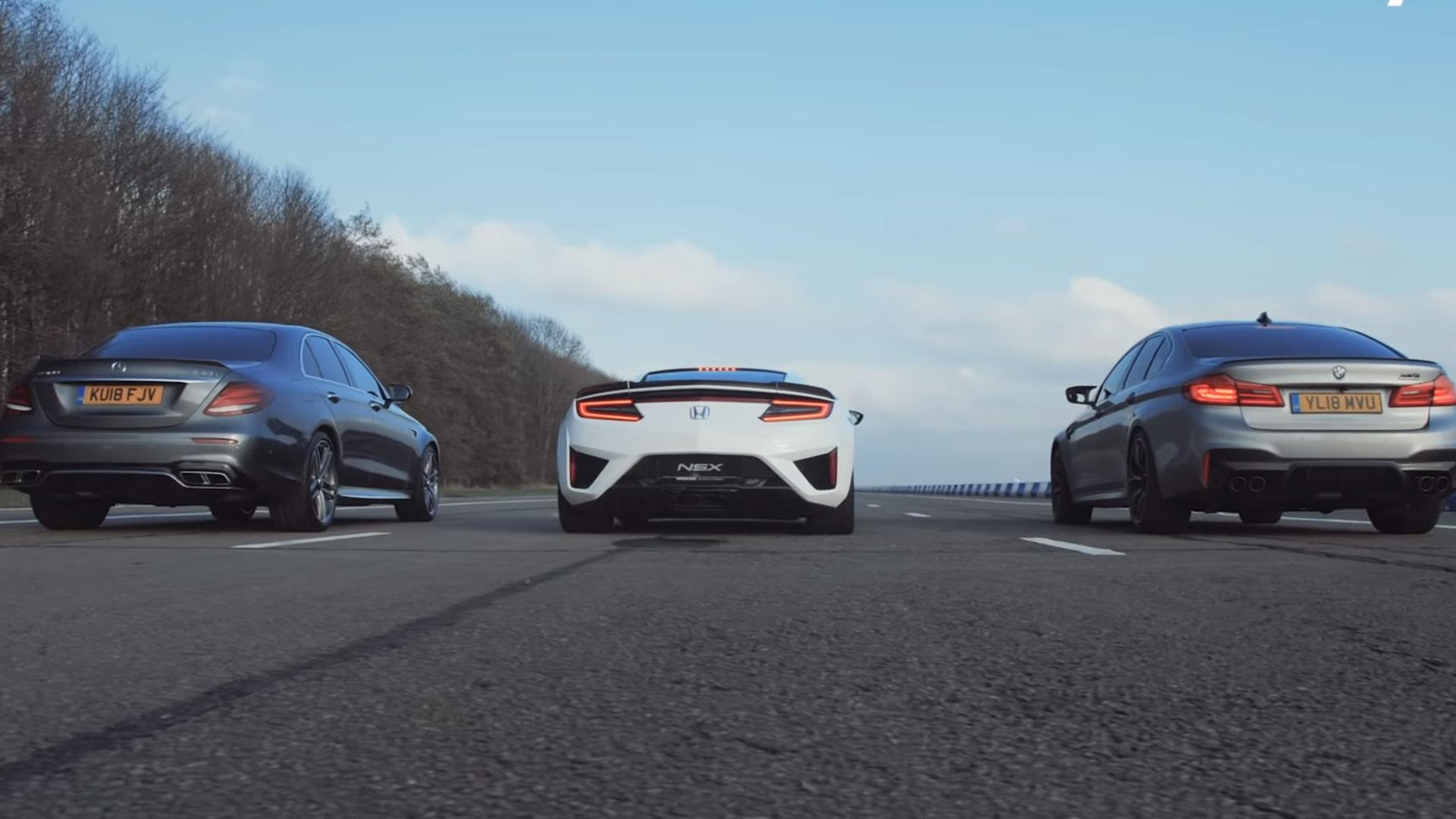 BMW M5 vs Mercedes E 63 S vs Honda NSX