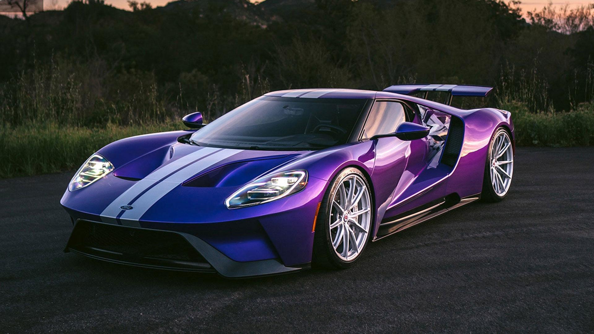 Ford GT met V8 HRE wielen paars