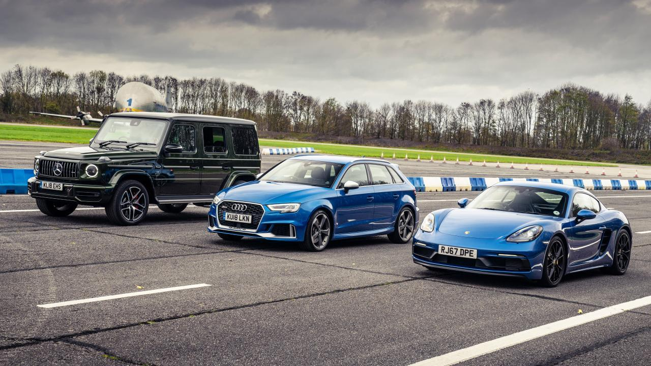 Mercedes-AMG G 63 vs Porsche Cayman GTS vs Audi RS 3