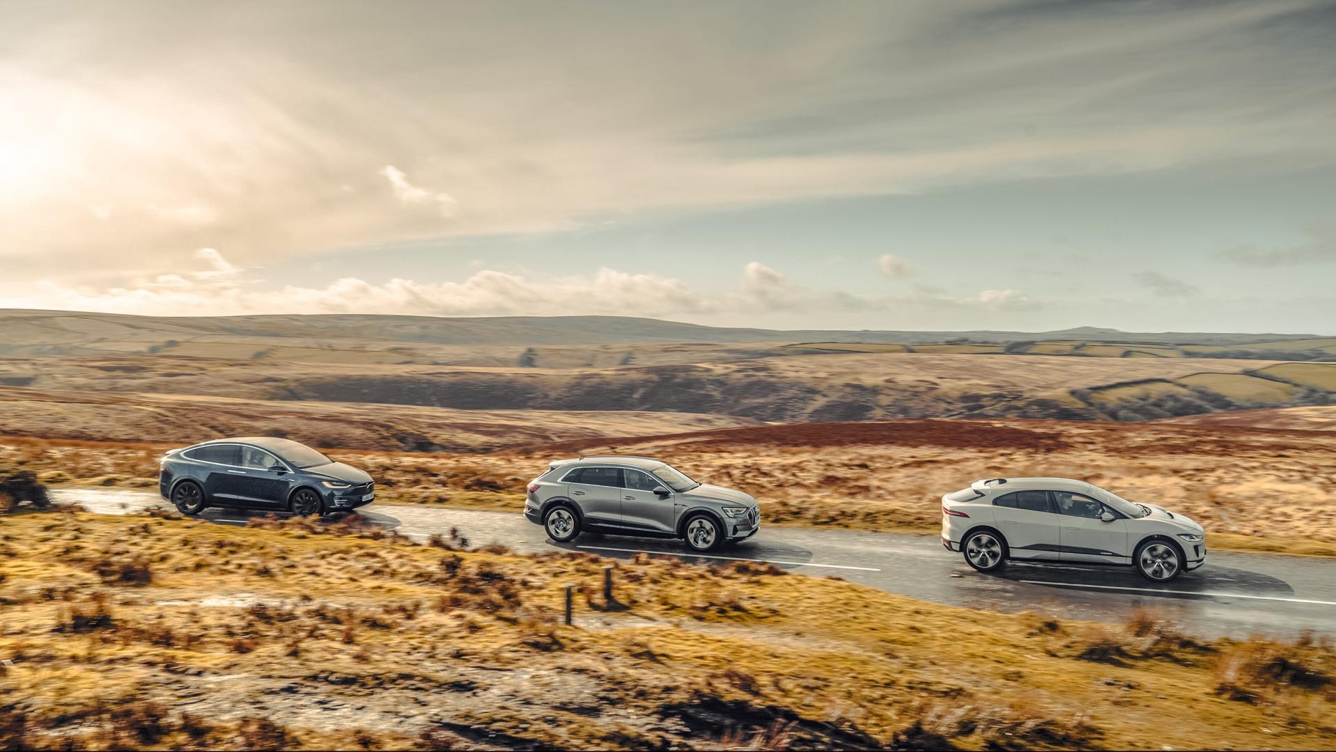 Audi e-tron, Tesla Model X, Jaguar I-Pace EV400 - Elektrische gezinsautos