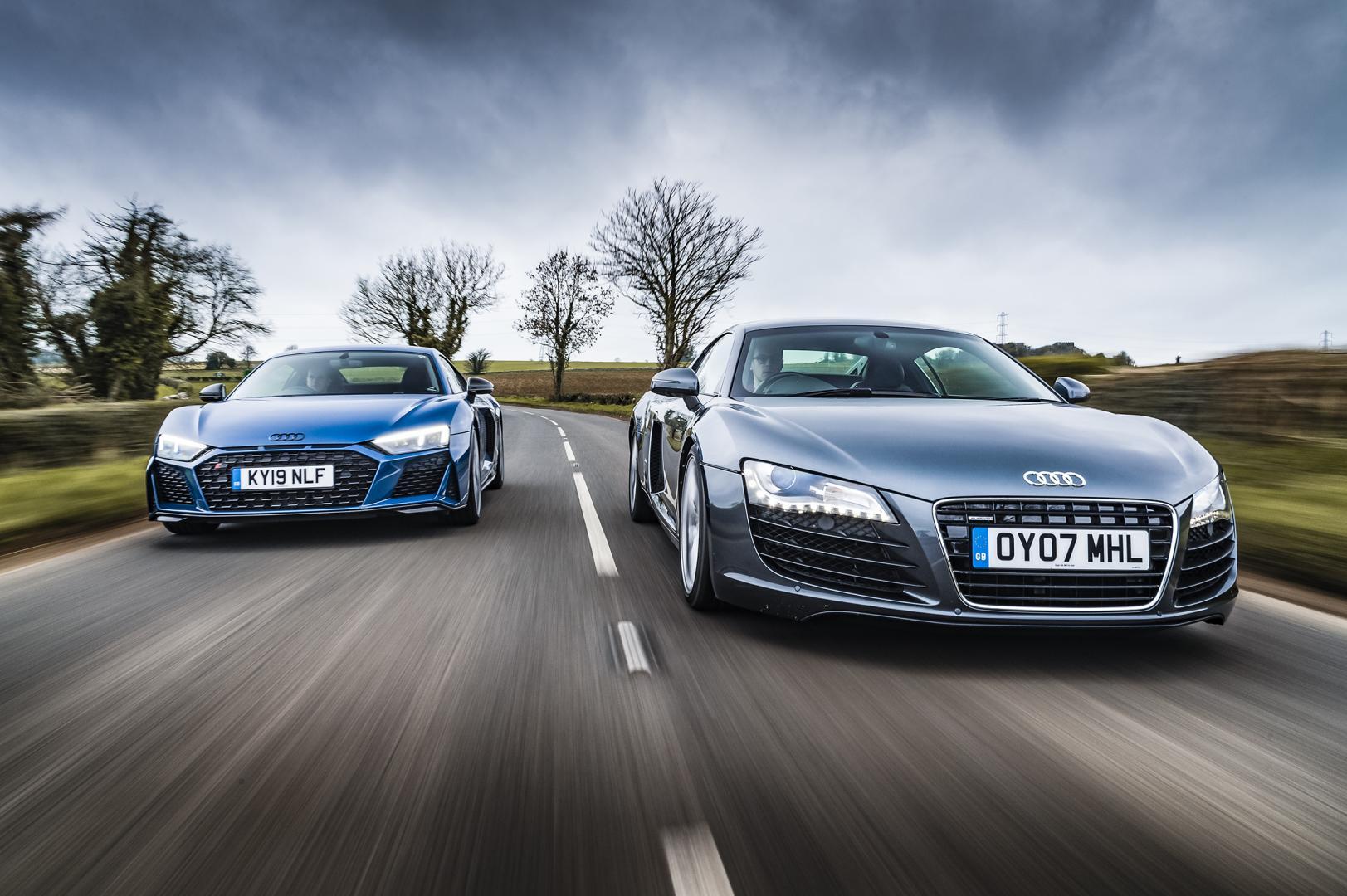 Audi R8 V10 vs Audi R8 V8 voor op weg