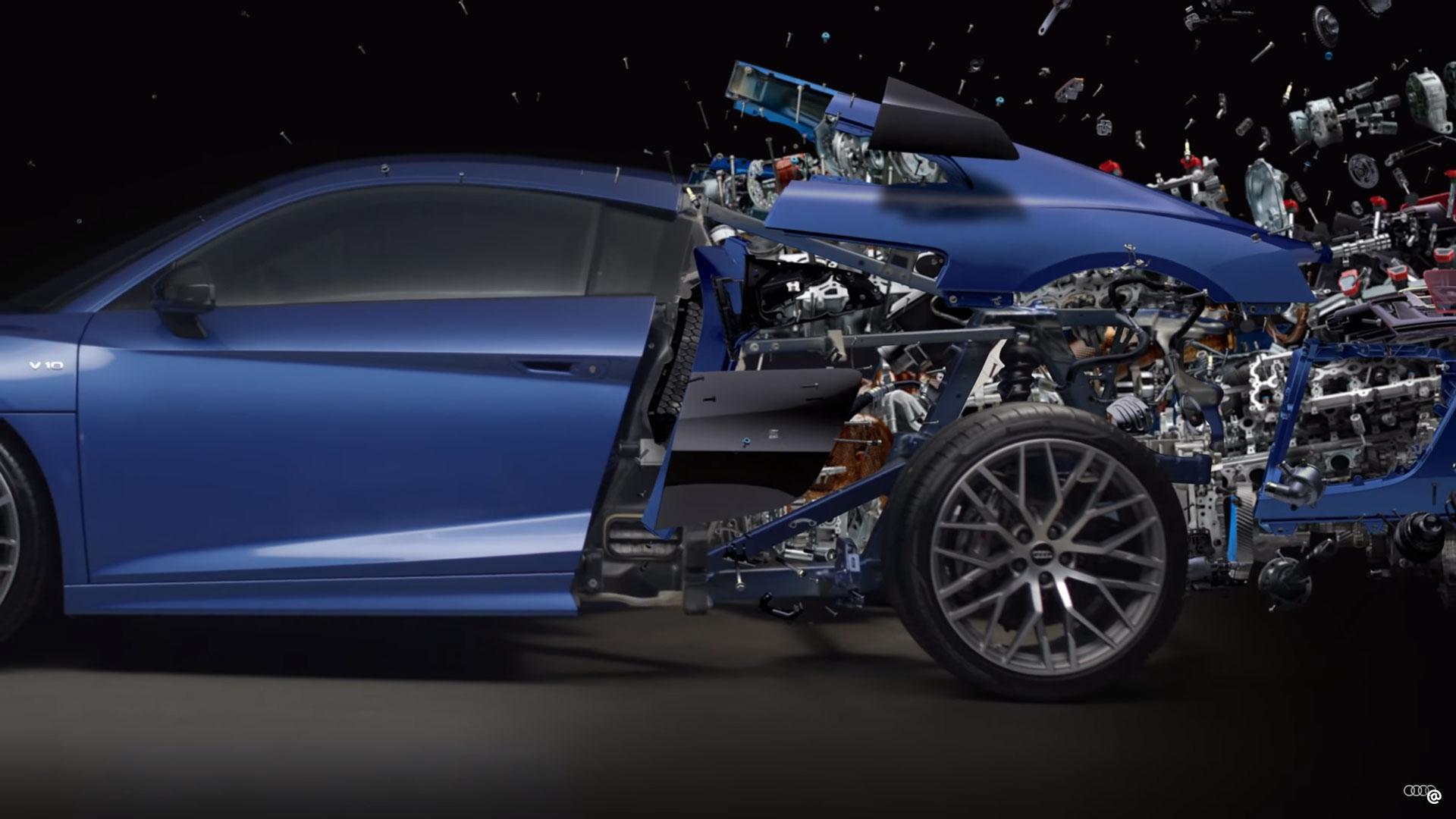 exploderende Audi R8