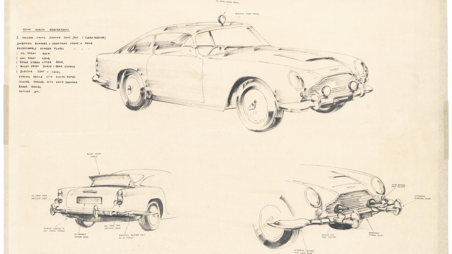 Aston Martin DB5-Goldfinger schets