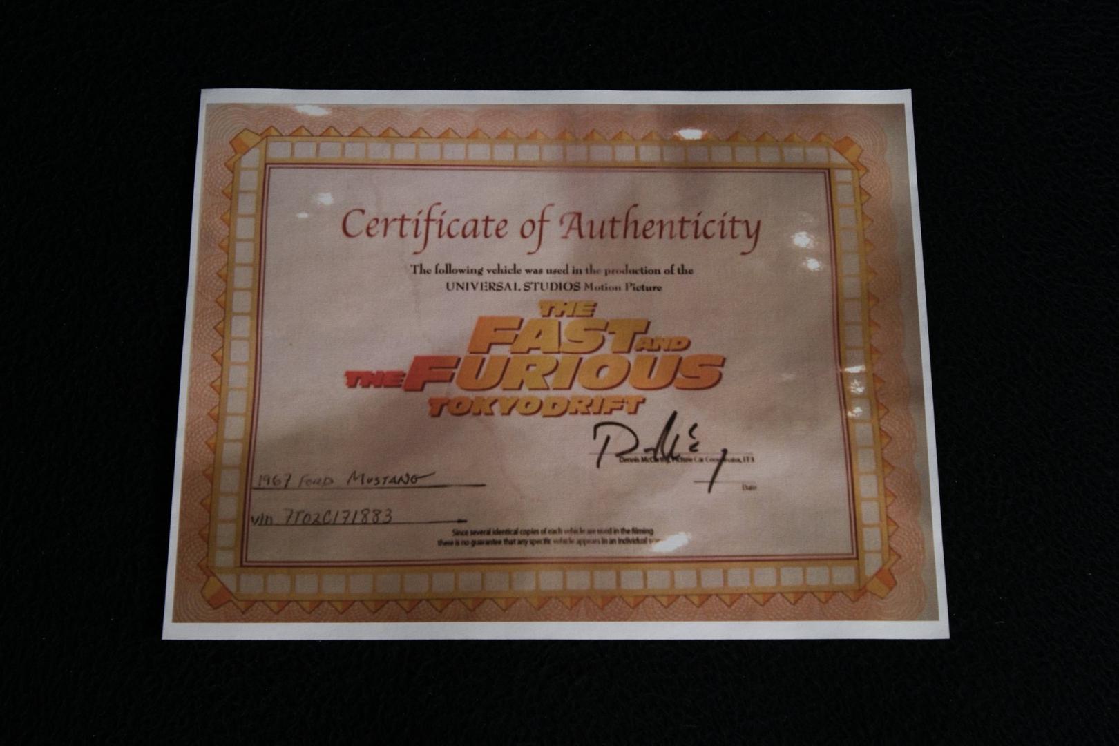 certificaat fast furious tokyo drift mustang