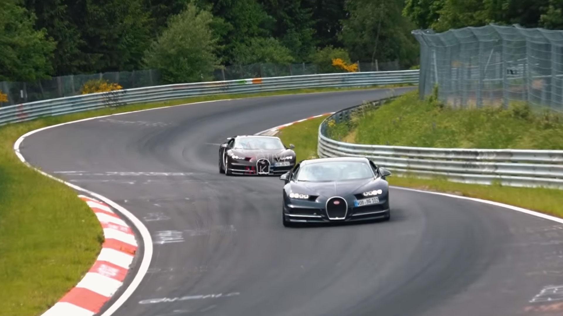 Bugatti Chirons op de Nurburgring