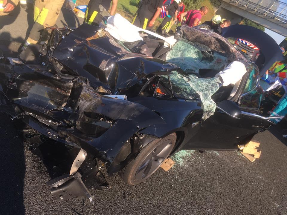 Tesla Model 3 crash nederland