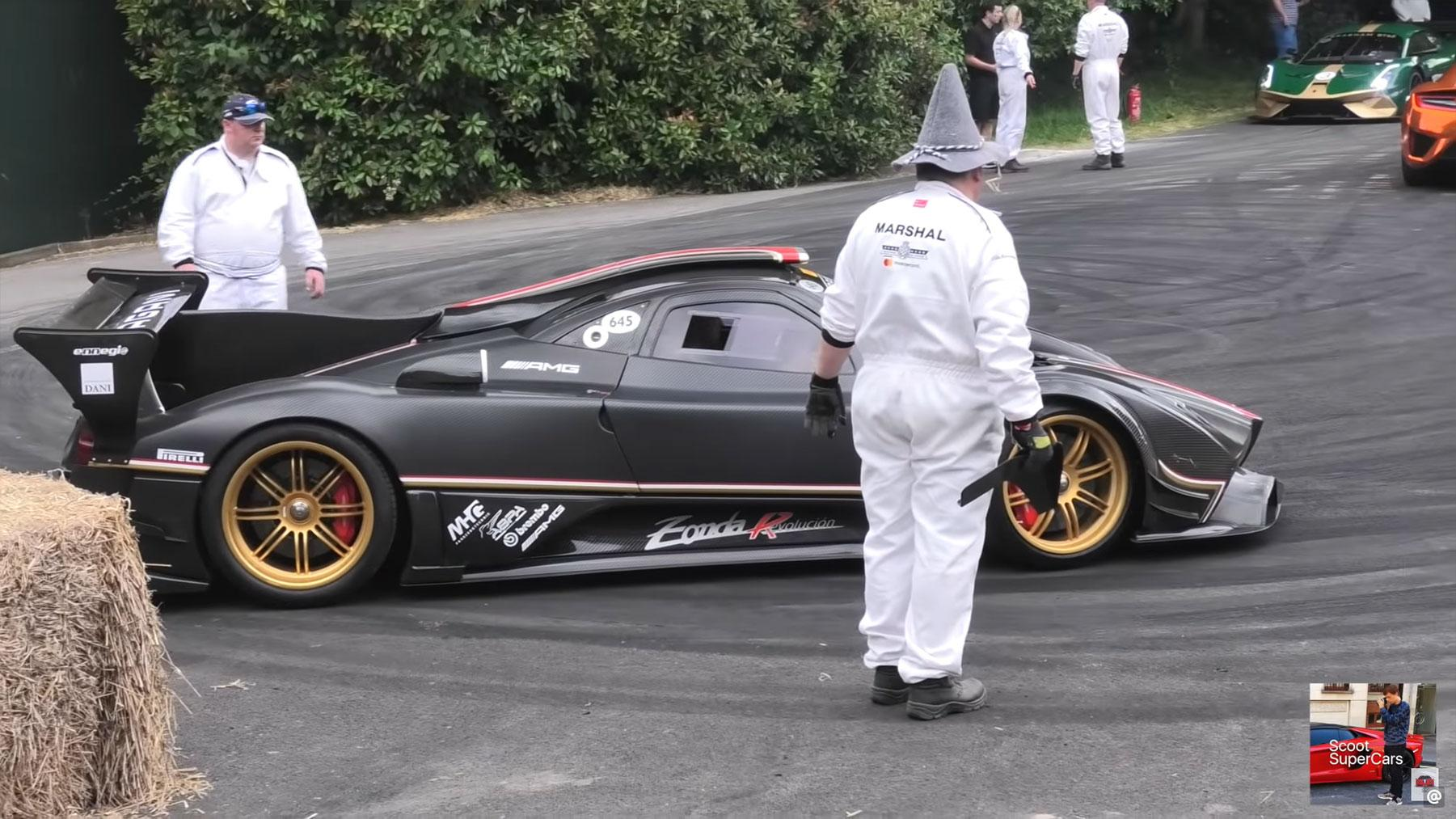 Pagani Zonda R crash goodwood