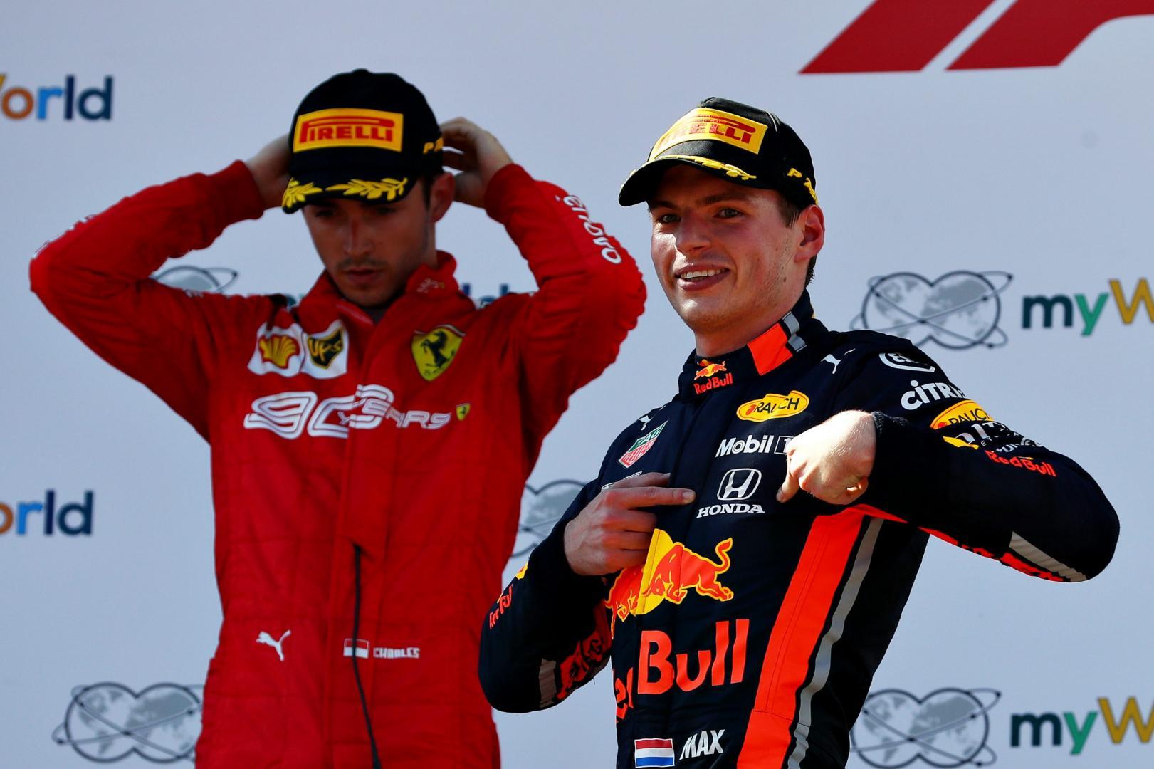 Max Verstappen na de overwinning in Oostenrijk