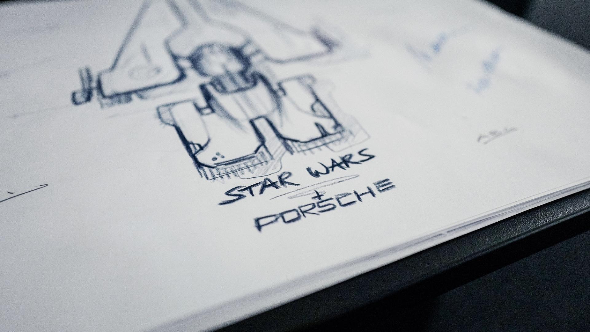 Een Star Wars ruimteschip van Porsche en Lucasfilm