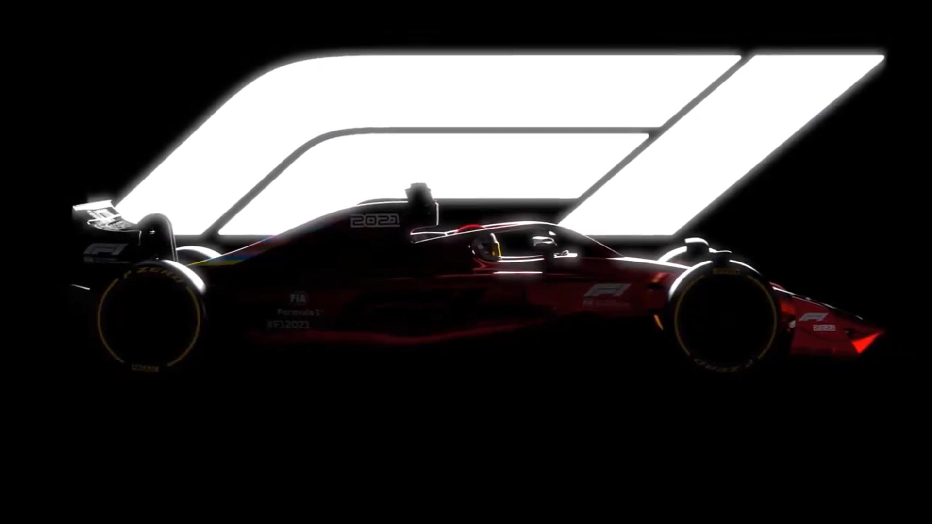 F1 2021 auto met wit licht in achtergrond
