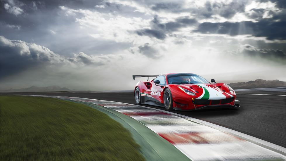 Ferrari 488 EVO rechtsvoor in een bocht