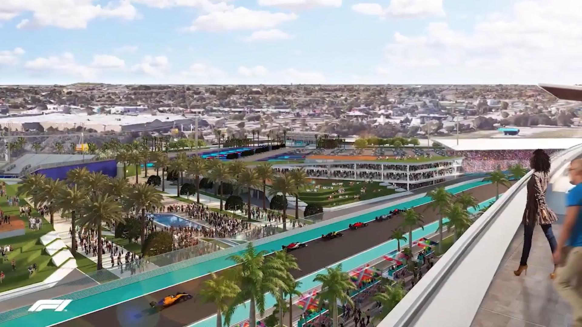 Miami GP met de stad in achtergrond