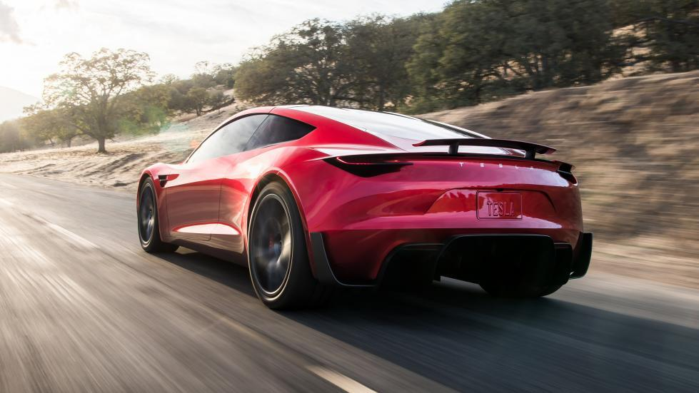 Tesla Roadster links achter