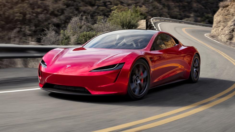 Tesla Roadster links voor dichtbij