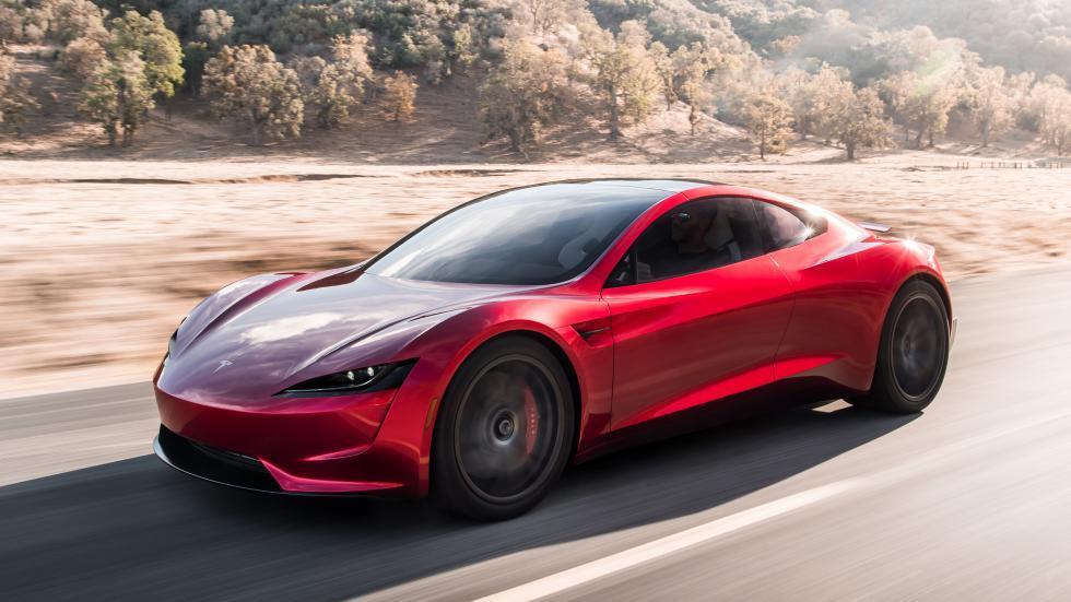 Tesla Roadster links voor