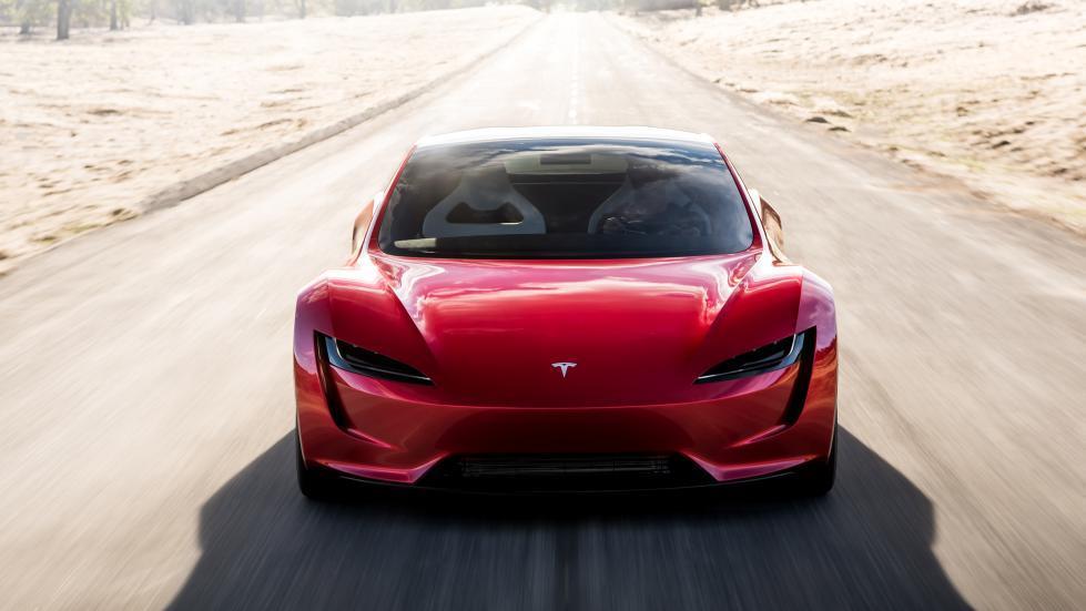 Tesla Roadster recht voor