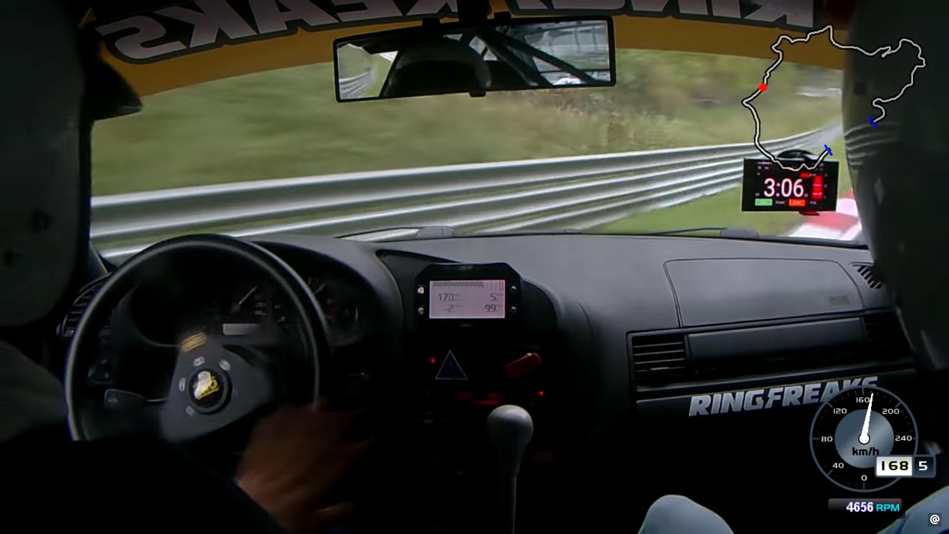 BMW 3-serie spint met 175 km/u op Nurburgring