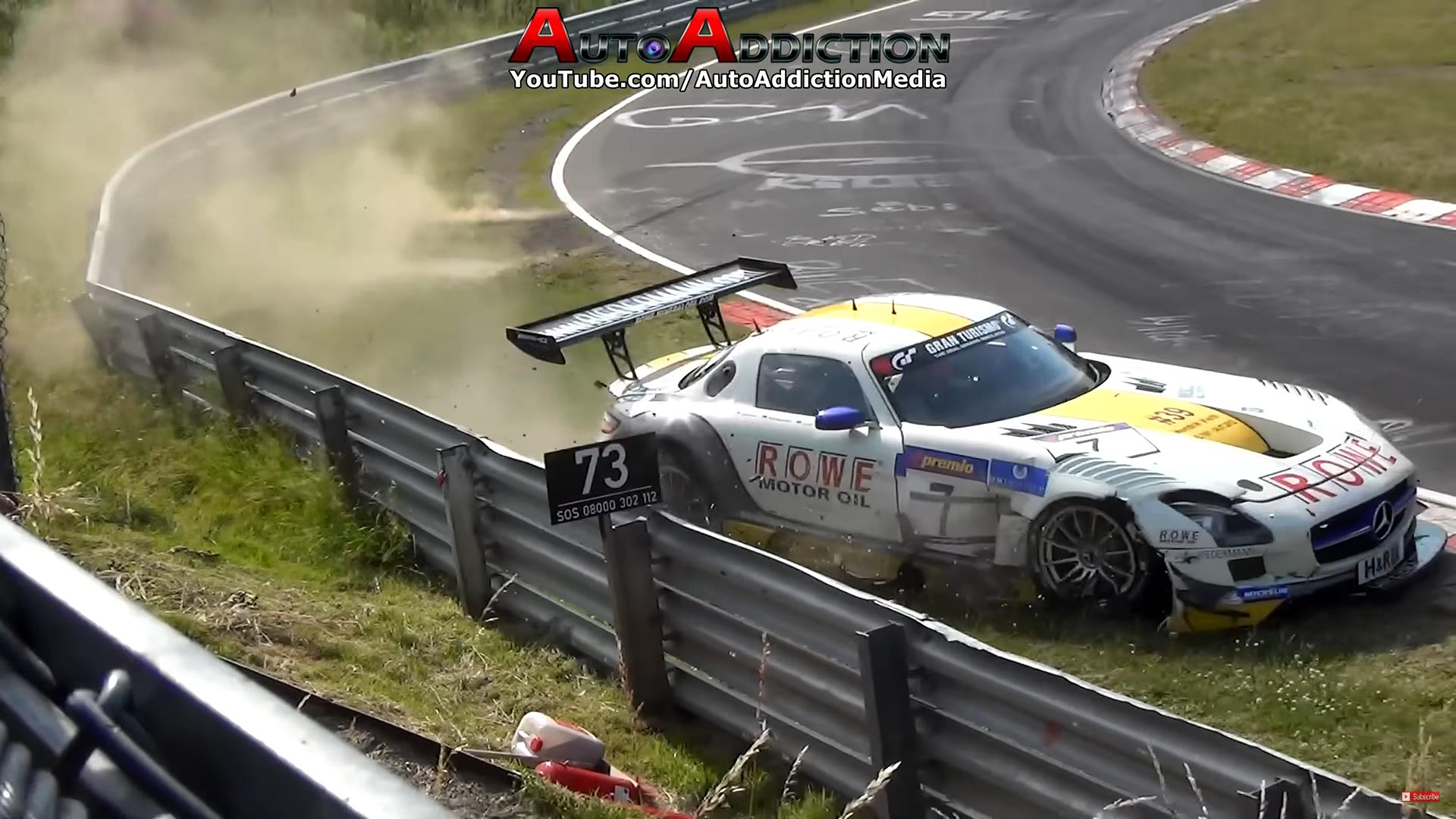 Raceauto crashcompilatie Mercedes AMG GT Nurburgring