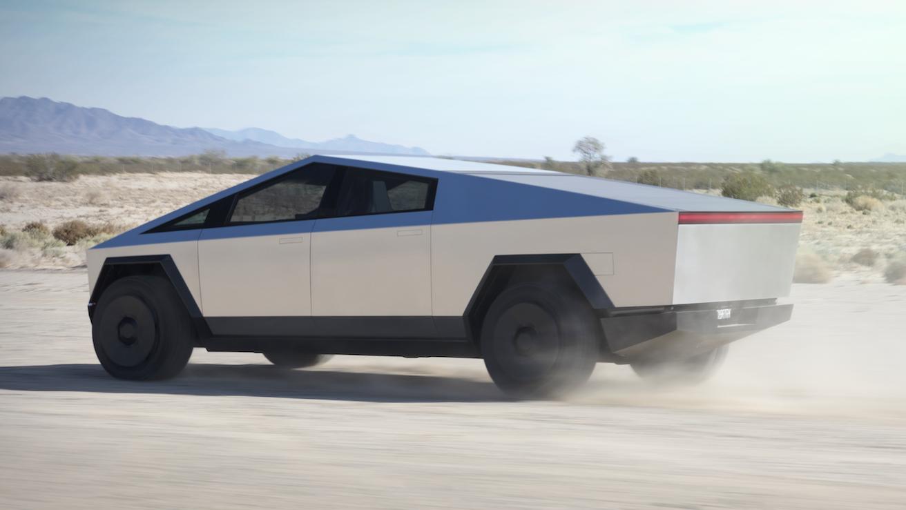 Tesla Cybertruck 2020 3 4 achter rijder