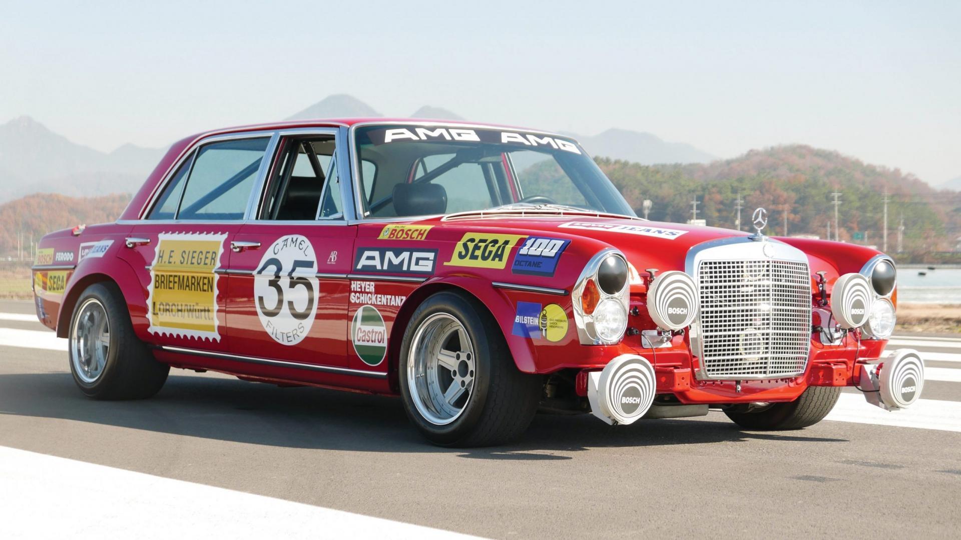 Mercedes 300 SEL AMG Red Pig mistlampen