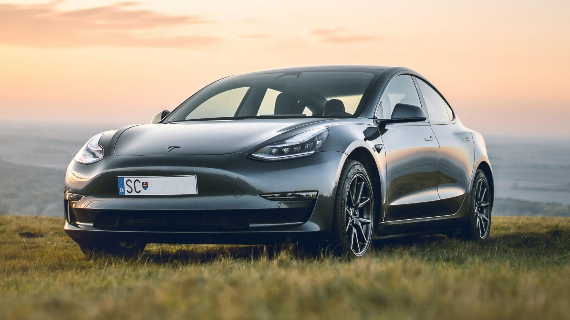 Tesla Model 3 in grasveld