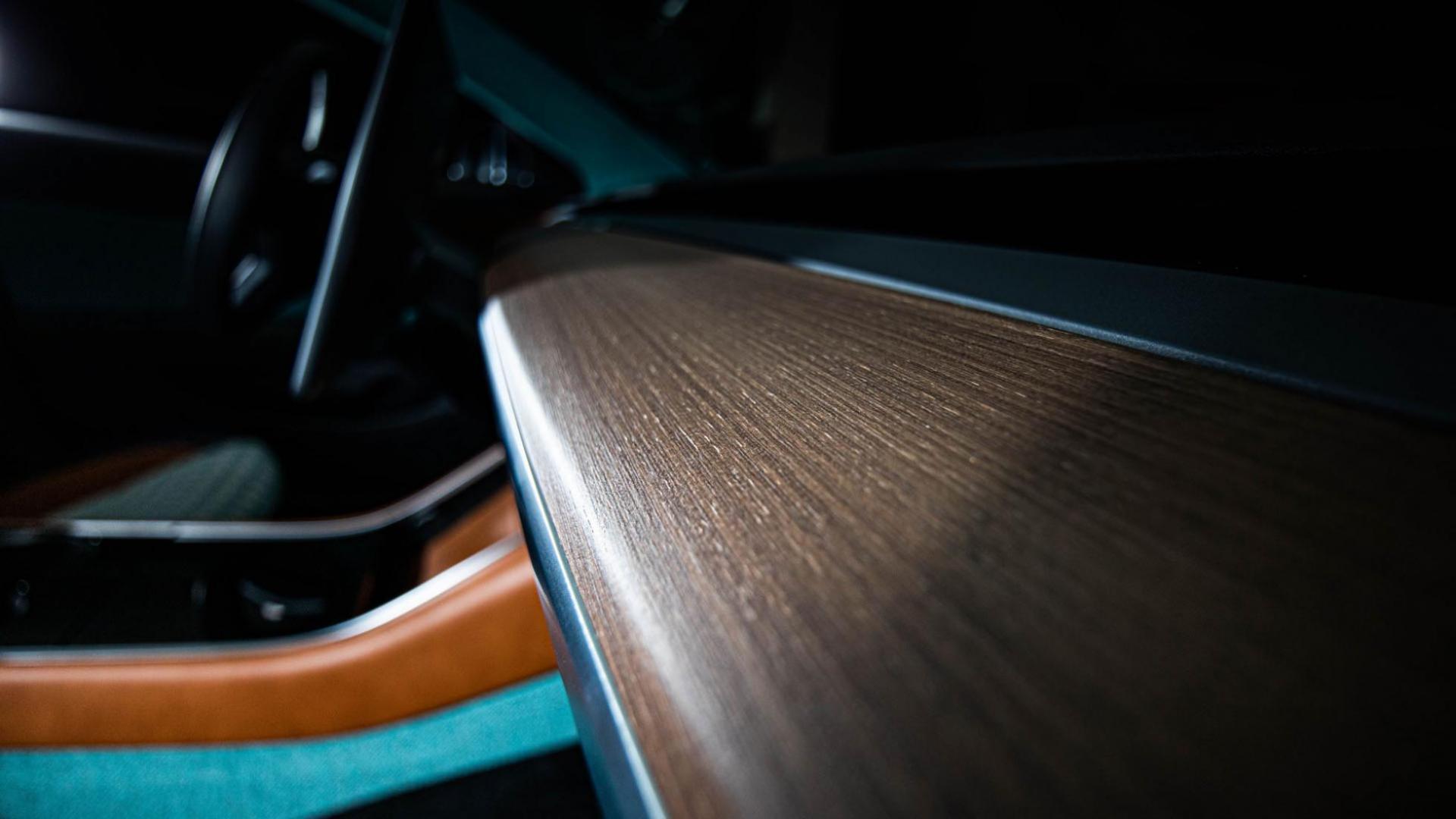 Tesla Model 3 Vilner interieur detail houten paneel
