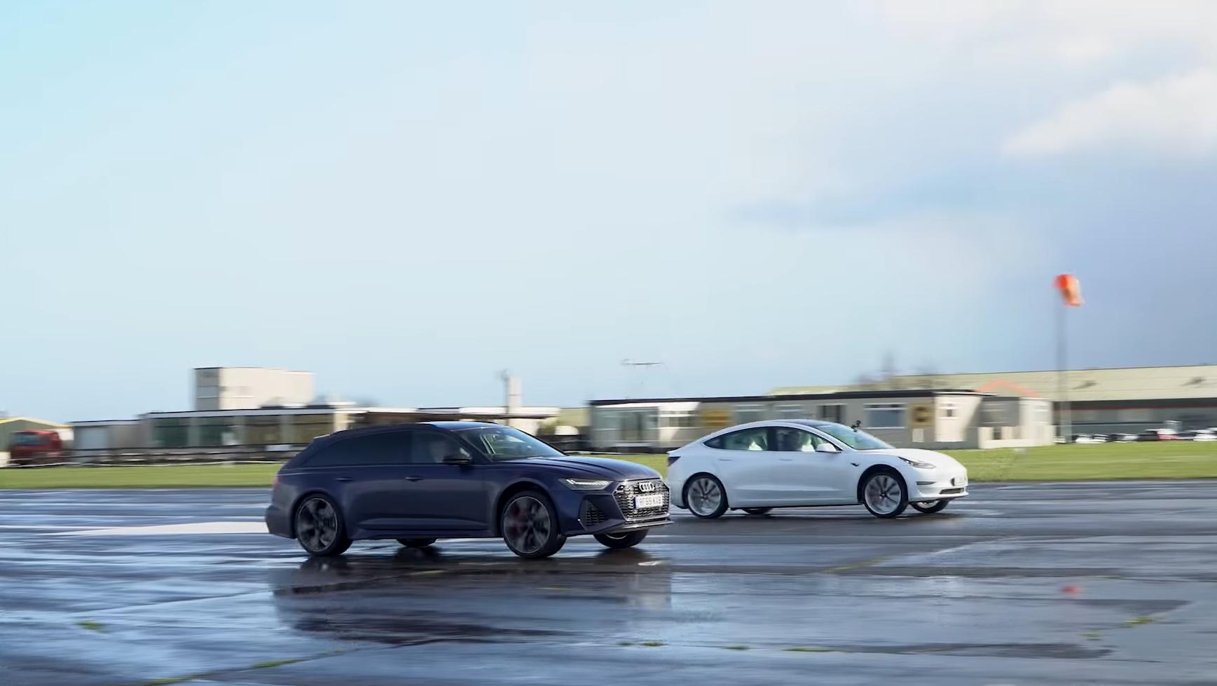Audi RS6 Avant C8 vs Tesla Model 3 Performance dragrace zij