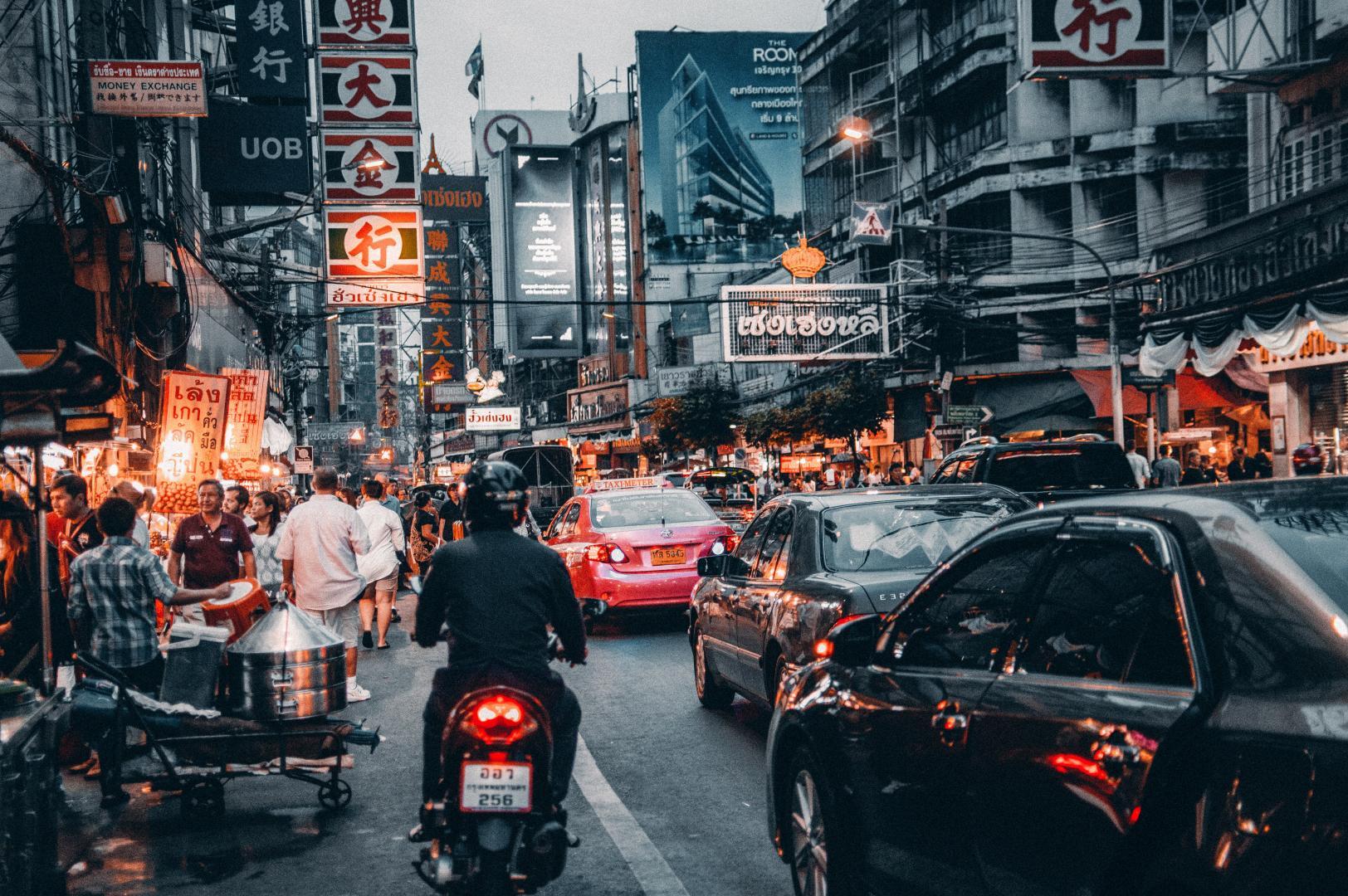 Drukke stad in Azië