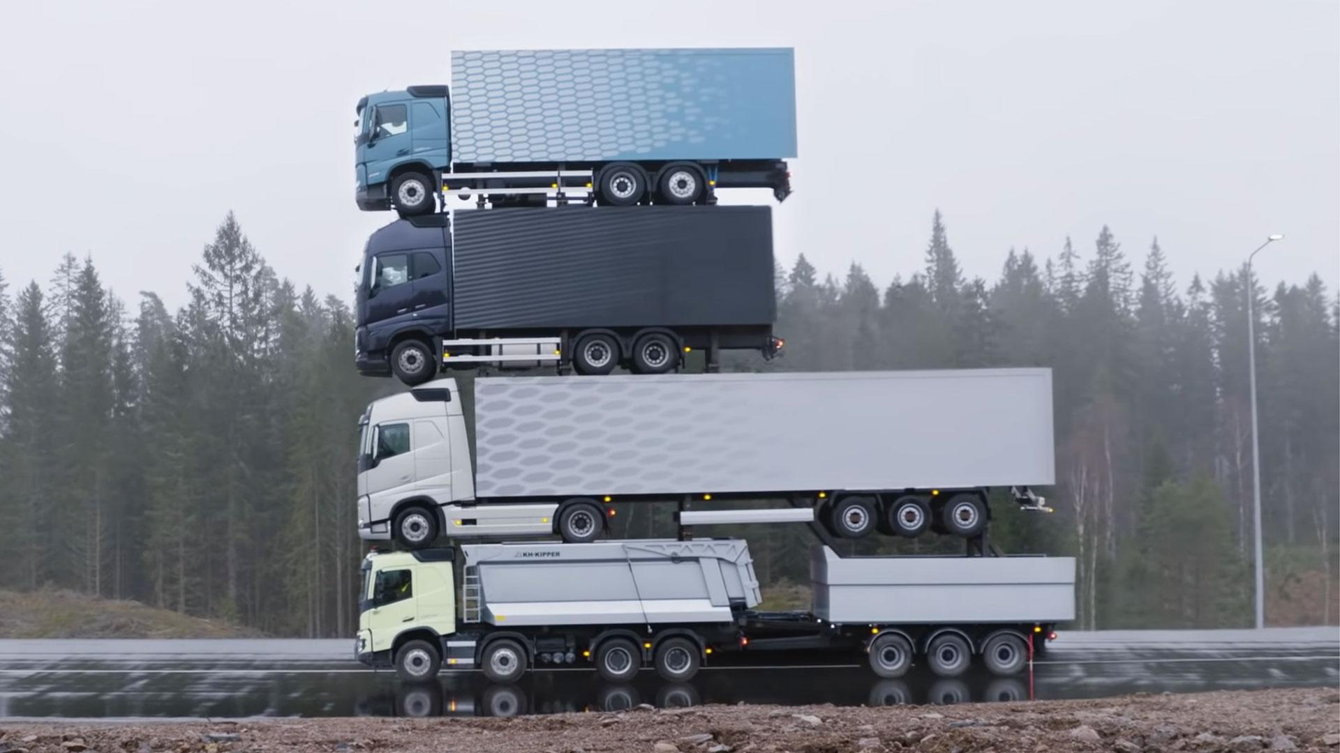 Volvo stapelt trucks