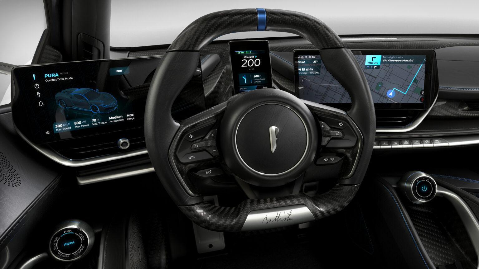 Pininfarina Battista Anniversario 2020 interieur dashboard stuur