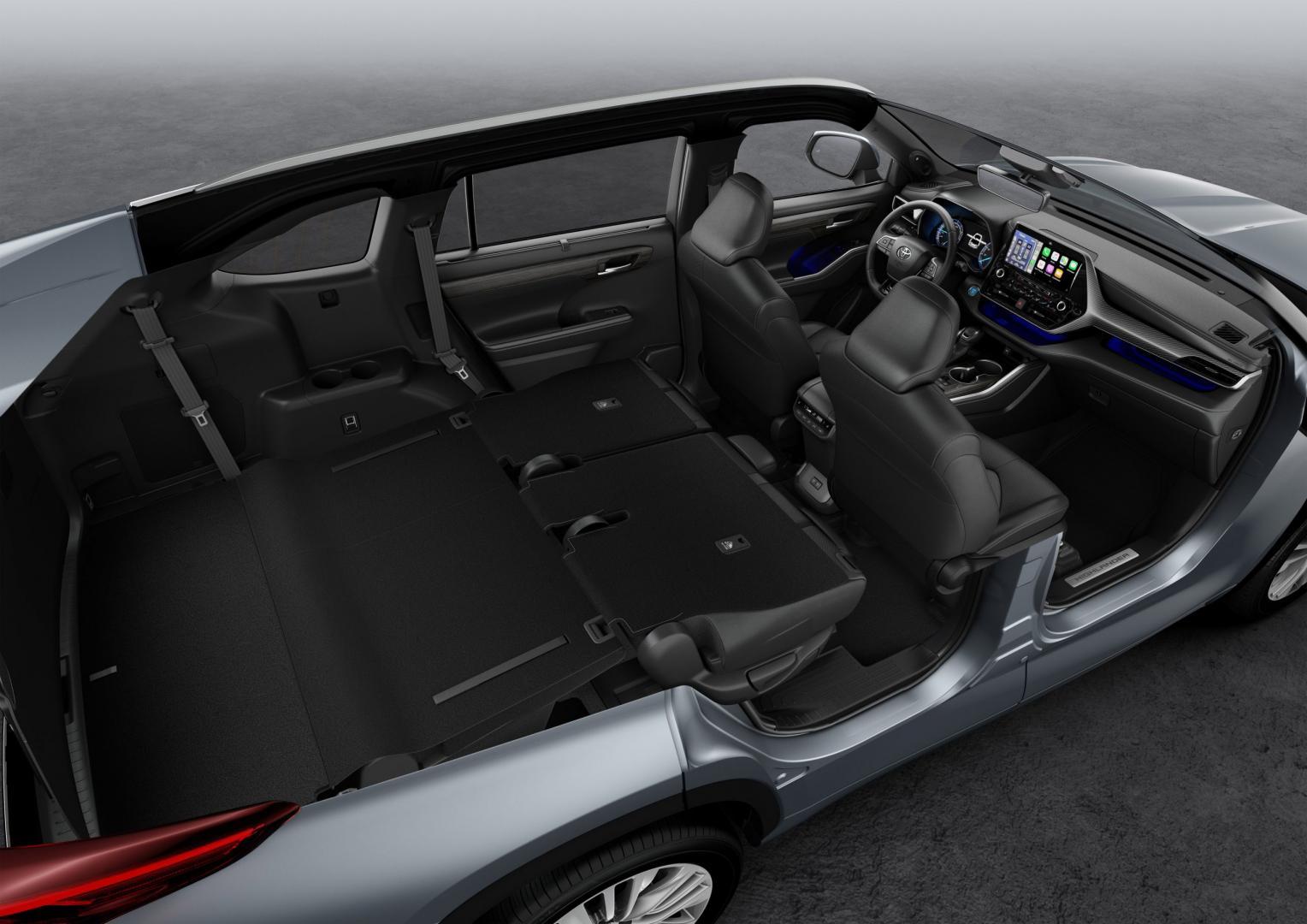 aInterieur Toyota Highlander met zeven zitplaatsen