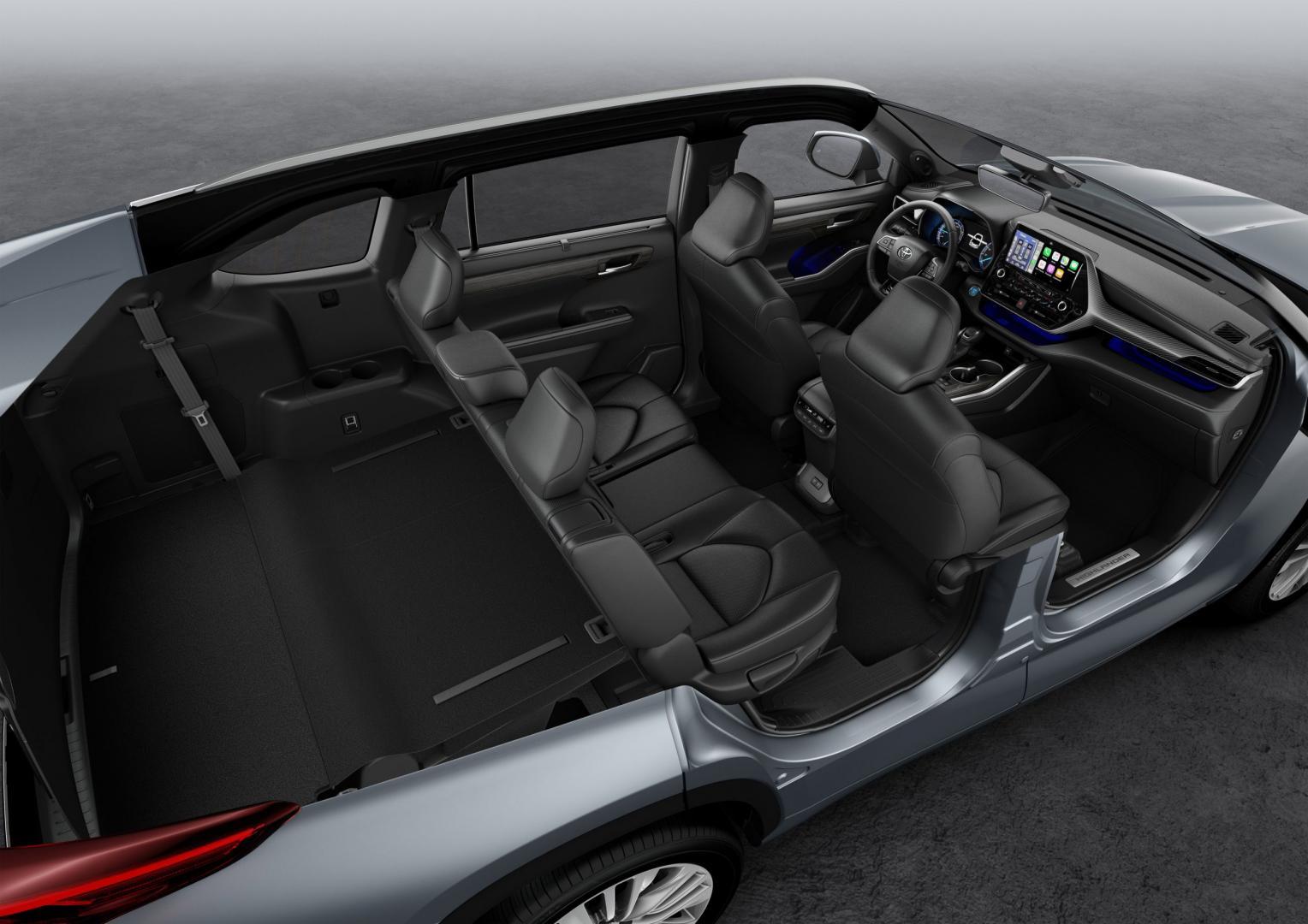 Interieur Toyota Highlander met zeven zitplaatsen