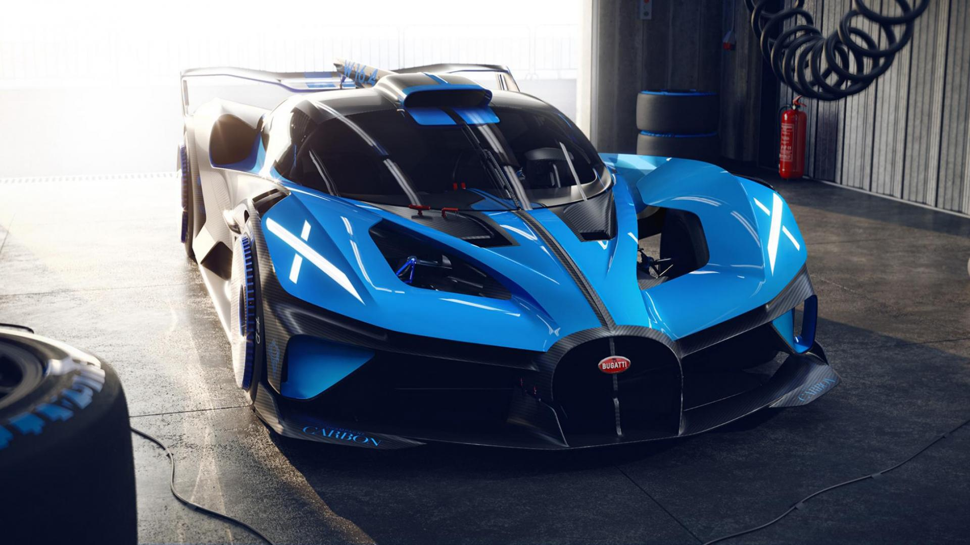 Bugatti Bolide in Pitbox of garage