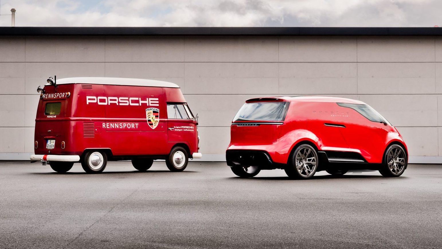 Porsche busje Vision Renndienst en Volkswagen T1