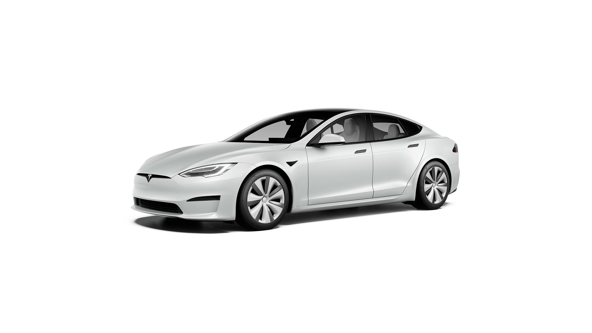 Witte Tesla Model S (2021)