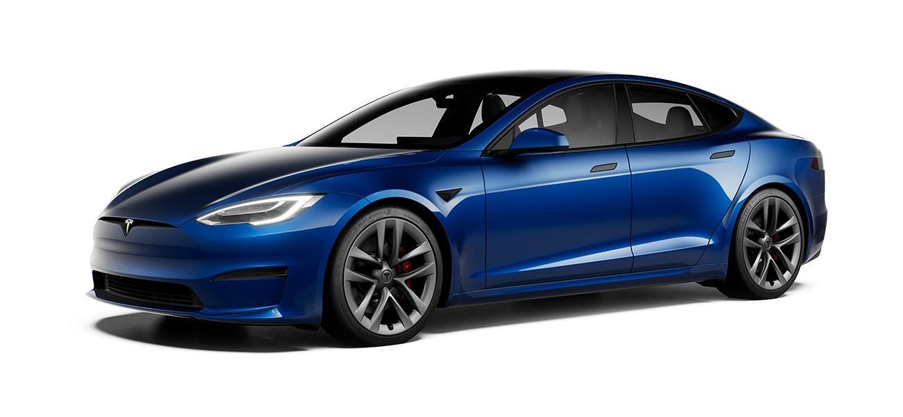 Blauwe Tesla Model S (2021)