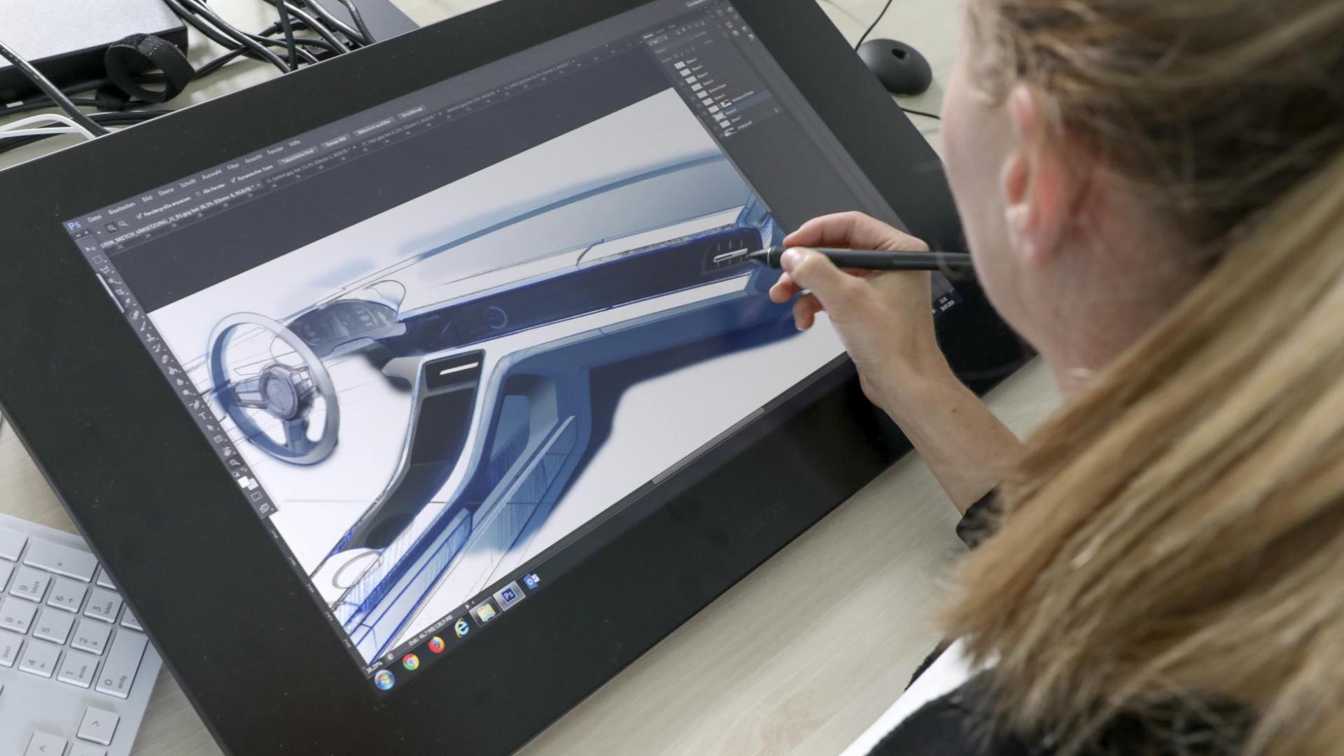 Het onwerpen van een nieuwe Porsche-dashboard op een tablet
