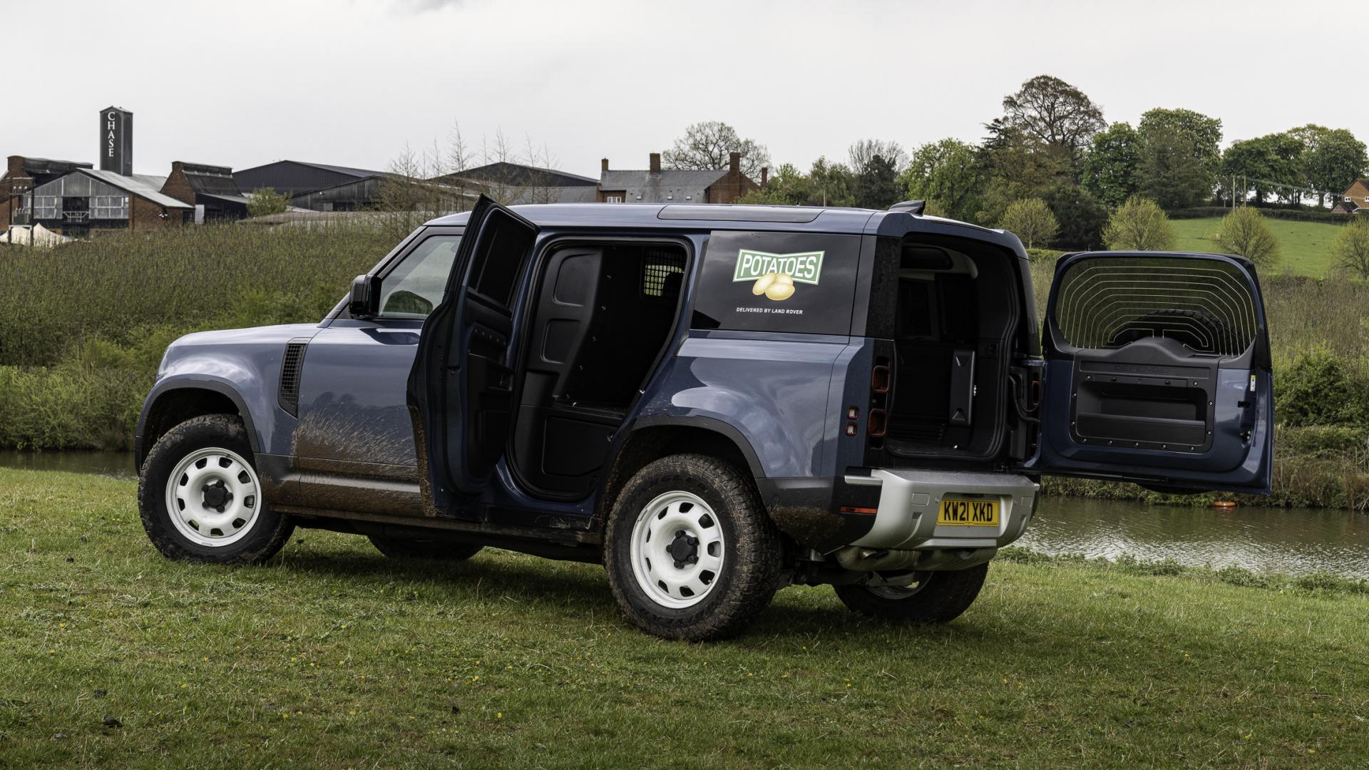 Deuren open Land Rover Defender 90 Commercial (grijs kenteken)